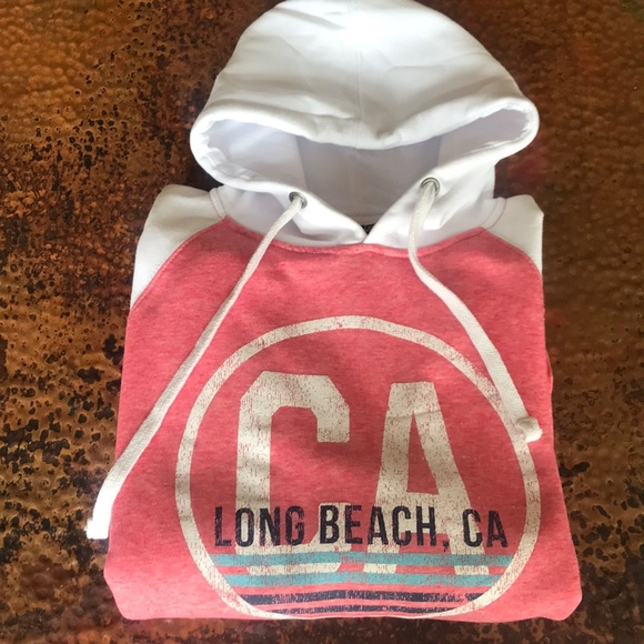 Tops - Long Beach White & Coral Hoodie. NWT.Size M. Soft!